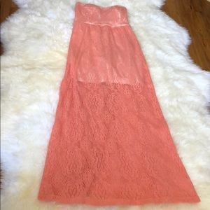 Wet Seal | Peach Strapless Lace Maxi Dress | Large